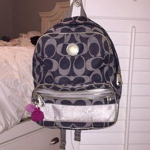 Denim coach book bag (small but not mini)